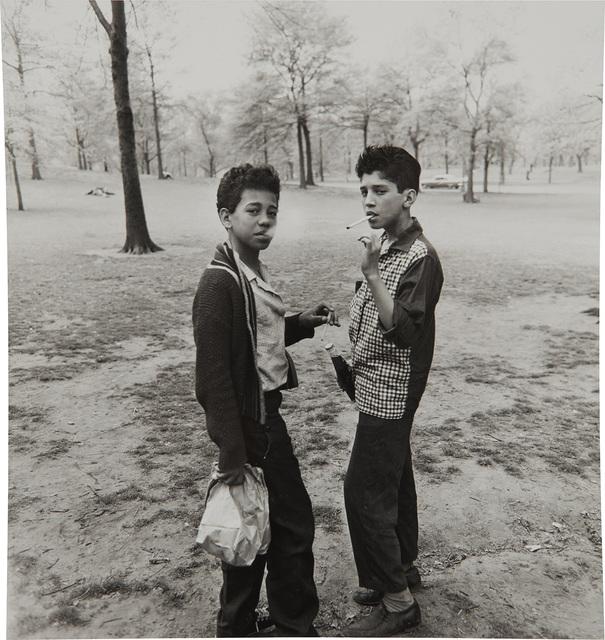 Diane Arbus | Two boys smoking in Central Park, N Y C  (1963) | Artsy