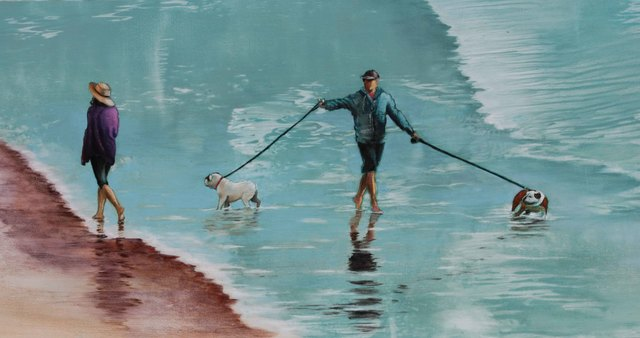 , 'Three Dogs in the Surf,' 2016, Sue Greenwood Fine Art