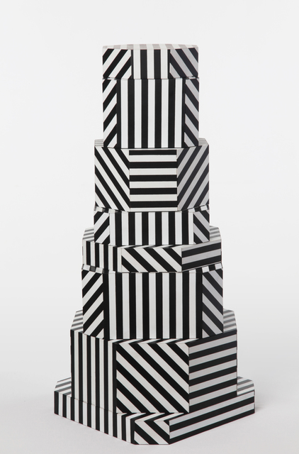", '""Ziggurat Tower"" set of stacking boxes, Black Stripes edition,' 2012, Carwan Gallery"
