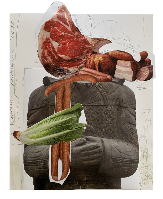 Tony Matelli, 'Warrior', 2019, Drawing, Collage or other Work on Paper, Collage on paper, pencil, paint, Public Art Fund Benefit Auction