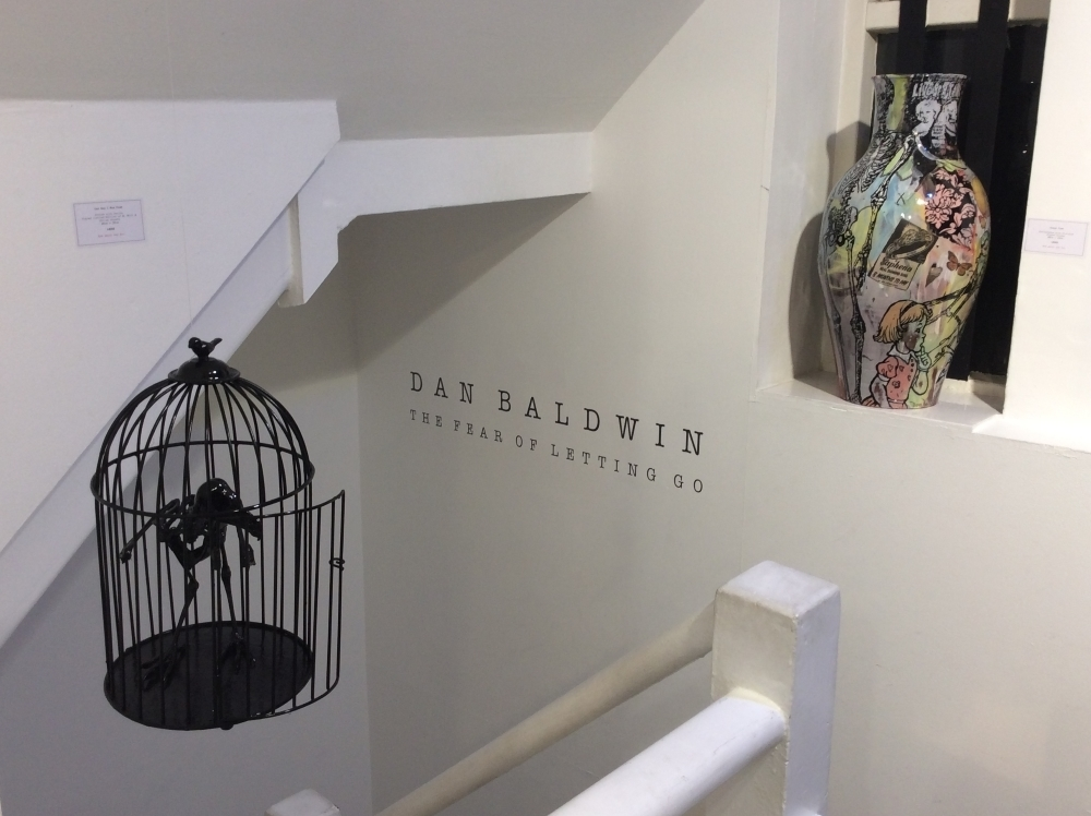 'One Day I was Free' suspended from the ceiling of the gallery