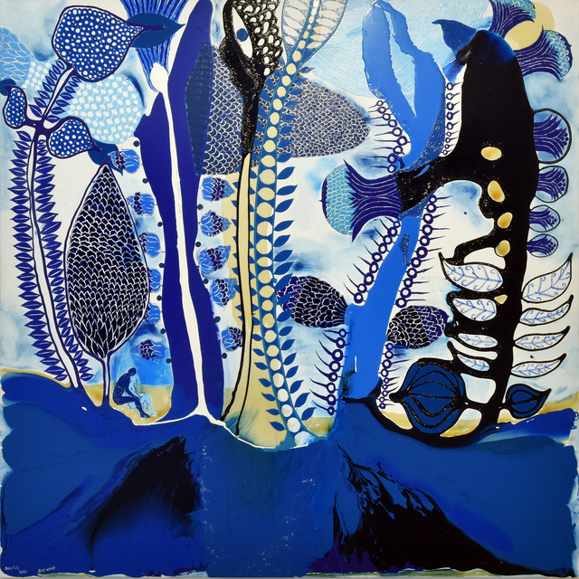 John Pule, 'Blue Night', 2020, Painting, Oil, varnish, ink, enamel and resin on canvas, Gow Langsford Gallery