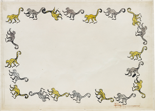 Andy Warhol, 'Turquoise and Yellow Monkey', 1953, Drawing, Collage or other Work on Paper, Watercolour on paper, Phillips