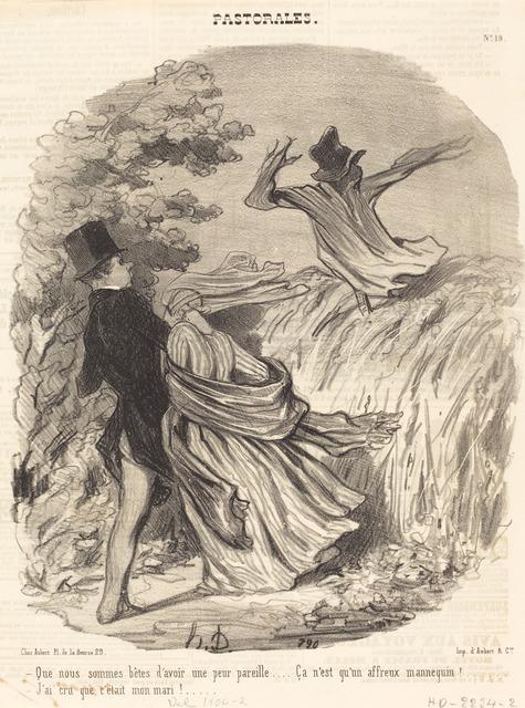Honoré Daumier, 'Que nous sommes bêtes d'avoir une peur pareille...', 1845, National Gallery of Art, Washington, D.C.