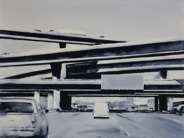 , 'Freeway No. 10 / watercolor on paper mounted to panel,' 2018, Andra Norris Gallery