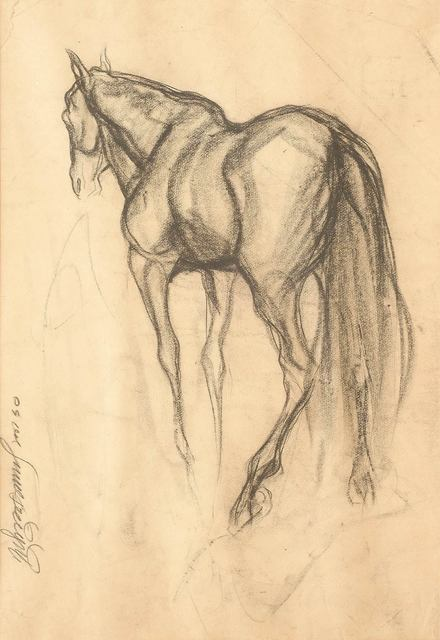 """, 'Early Horse V, Drawing, Charcoal on Paper by Padmashree Artist """"In Stock"""",' 1950, Gallery Kolkata"""