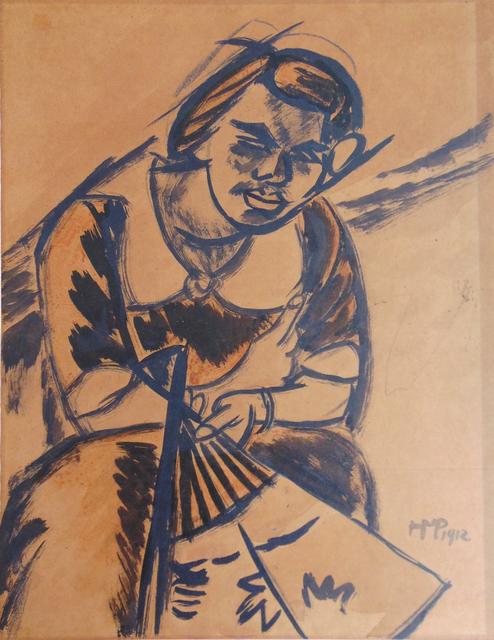, ' Lotte, The Artist's Wife (Woman with Fan / Frau mit Fächer),' 1912, Gilden's Art Gallery