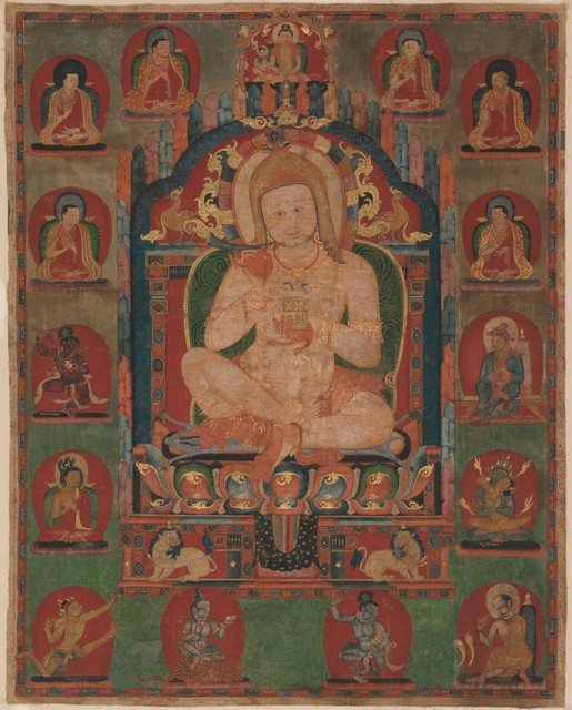 Unknown Tibetan, 'Portrait of Jnanatapa Attended by Lamas and Mahasiddhas', ca. 1350, The Metropolitan Museum of Art