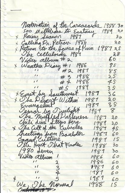 , 'Hand-Written Film List,' ca. 1989, San Francisco Cinematheque
