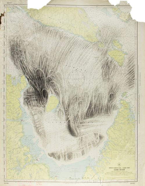 Alexander Ponomarev, 'Glacier', 2016, Drawing, Collage or other Work on Paper, Graphite on navigational map, Richard Taittinger Gallery