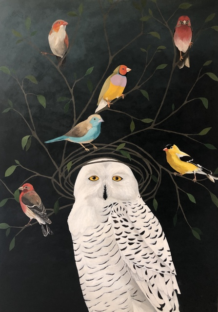 "Leslie Barron, '""Snowy Owl with Finches"" Mixed Media painting of an owl on black background', 2019, Eisenhauer Gallery"