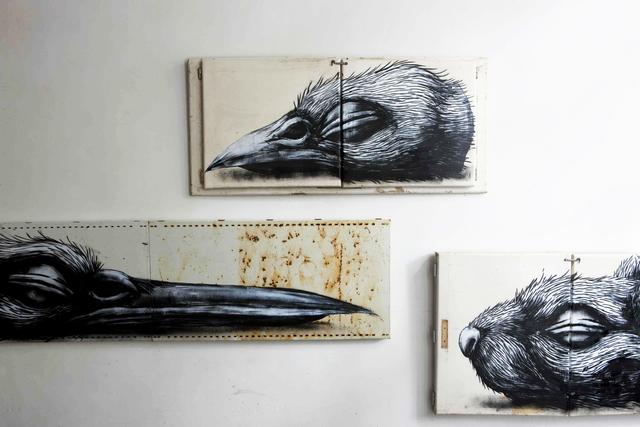 ROA, 'Bird (Sparrow) Head', 2010, The Garage Amsterdam