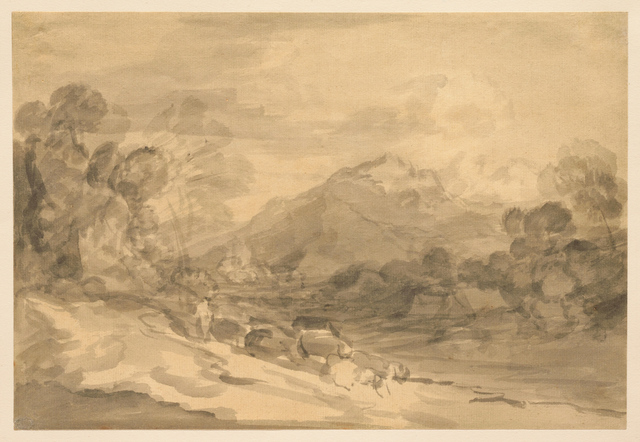 , 'Rocky Wooded Landscape with Herdsman Driving Cattle along a Valley and Distant Mountains,' ca. 1783, Clark Art Institute