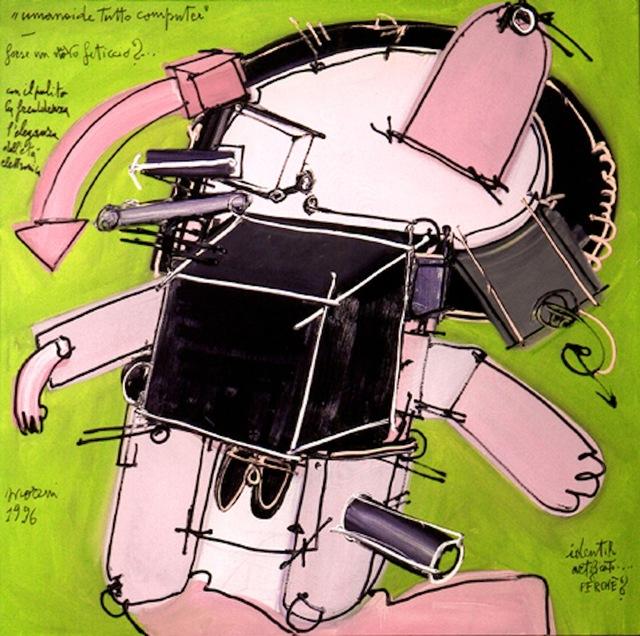, 'Umanoide tutto computer. Forse un nuovo feticcio?,' 1996, Galleria d'Arte Maggiore G.A.M.