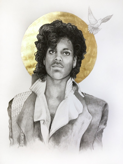 Lauren Clayton, 'Prince', 2019, Drawing, Collage or other Work on Paper, Graphite, charcoal, and gold leaf on paper, SHIM Art Network