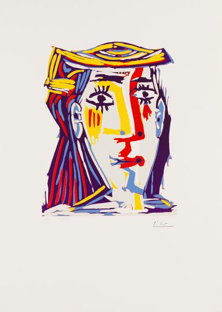 Pablo Picasso, 'Portrait of Jacqueline in a Multicolored Straw Hat', 1962, Print, Linocut, Christopher-Clark Fine Art