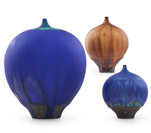 Three Feelies, lapis and onion skin glazes