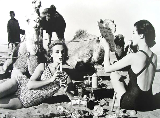 William Klein, 'Tatiana, Mary Rose and Camels, Picnic, Morocco', 1958, IFAC Arts