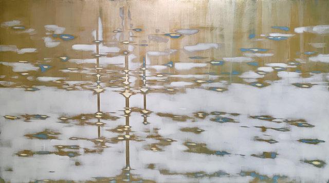 Audra Weaser, 'Gold Drift', 2021, Mixed Media, Acrylic, plaster, metallic paint on panel, Julie Nester Gallery