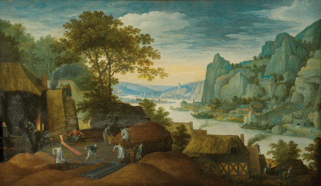 Martin Ryckaert, 'A Rocky Landscape with Figures, Houses and an Iron Foundry by the Scheldt River', 1601, Painting, Oil on table, Museo Soumaya