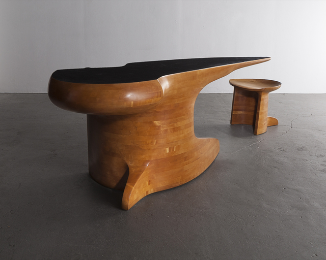 , 'Stack-laminated maple desk with leather top and maple stool.,' 1979, R & Company