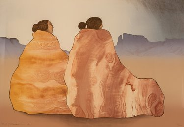 Two Women on Rock Texture Blanket