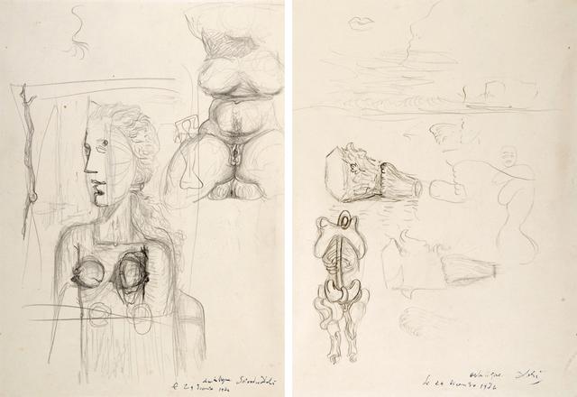 Salvador Dalí, 'Études pour le tableau Visage Paranoïaque (1935)', 1935, HELENE BAILLY GALLERY