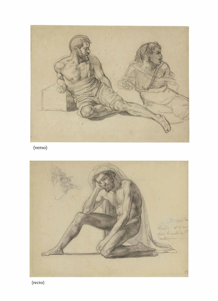 Study for the father in the Raft of the Medusa (recto); Two studies for the figure seated at the foot of the mast (verso)