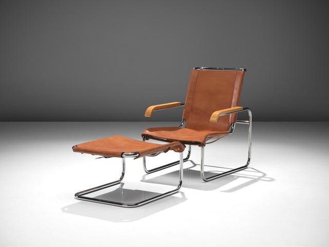 Superb Marcel Breuer Cognac Leather Lounge Chair With Ottoman 1928 Available For Sale Artsy Creativecarmelina Interior Chair Design Creativecarmelinacom
