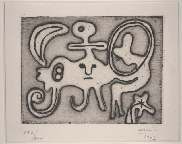 Joan Miró, 'Woman and Bird in Front of the Moon (Femme et oiseau devant la lune) from Laurels number 1', 1947, Dallas Museum of Art