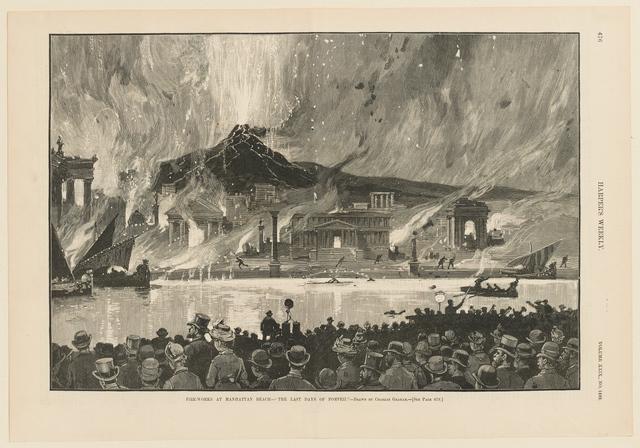 """, 'Fire-Works at Manhattan Beach—""""The Last Days of Pompeii,' 1885, Clark Art Institute"""
