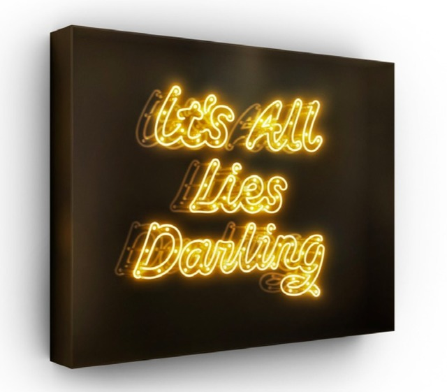 David Drebin, 'It's All Lies Darling', 2015, Installation, Neon Light Installation in a Smoked Acrylic Box, Art Angels