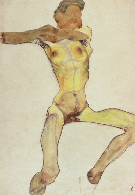 Egon Schiele, 'Male Nude, Yellow', 1910, Painting, Gouache, watercolor and charcoal on paper, Erich Lessing Culture and Fine Arts Archive
