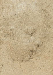 Head study in profiled (recto); Study of an angel looking up (verso)