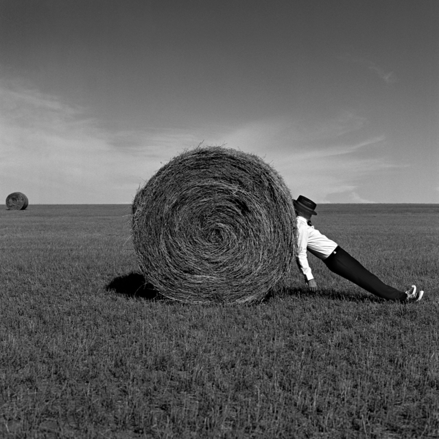, 'Man Leaning Against Hay Bale, Alberta, Canada,' 2004, Gilman Contemporary