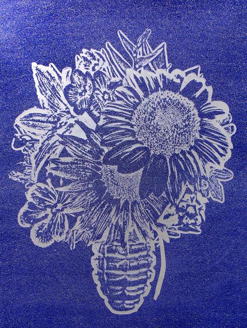 , 'Flower Vase (Silver on blue),' 2016, Octavia Art Gallery