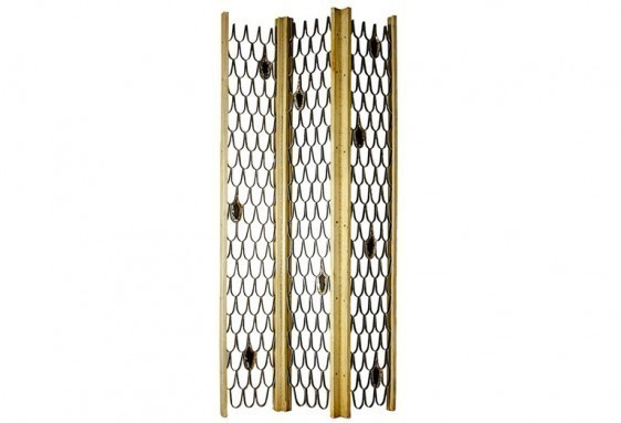 """Paul Evans (1931-1987), 'Phil Powell and Paul Evans Studio Silver Fish Scale Screen', ca. 1960s, Design/Decorative Art, Welded steel open """"fish scale"""" pattern decorated with aluminum metal-leaf and black """"ink."""" The frame in off-white striate paint over American Black Walnut with steel piano hinges., Todd Merrill Studio"""