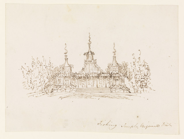 Frederick Crace, 'The Fishing Temple, Virginia Water', ca. 1825, Drawing, Collage or other Work on Paper, Pen and brown ink on white wove paper, Cooper Hewitt, Smithsonian Design Museum