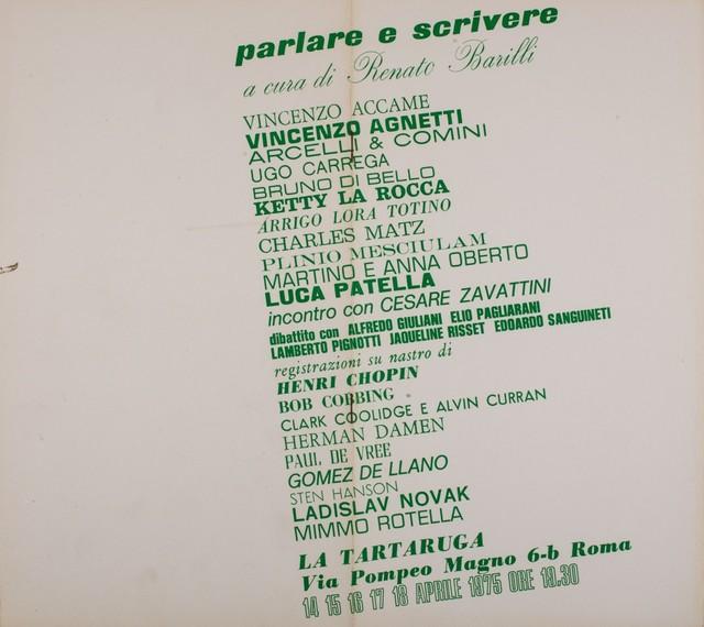 Renato Barilli, 'Parlare e scrivere, group exhibition', 1975, Finarte