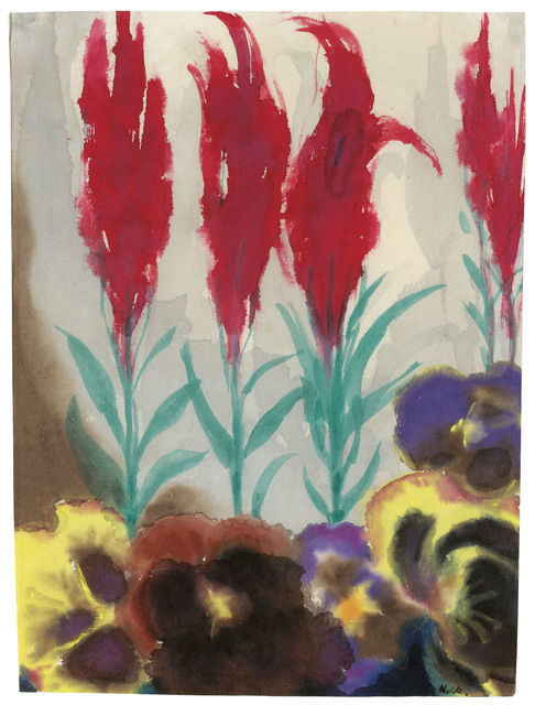 Emil Nolde, 'Pansies and plumed cockscomb', 1930, Drawing, Collage or other Work on Paper, Watercolour on Japan paper, Galerie Kovacek