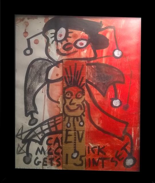 Paul Kostabi, 'Untitled #8', ca. 2017, Painting, Acrylic, black and silver marker, craypa, cardboard., David Leonardis Gallery