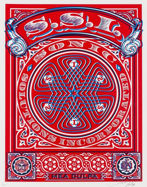 Shepard Fairey, 'SSI (Sonic Solutions Incorporated) Mea Culpa (red/blue)', 2008, Print, Screenprint in colours, Forum Auctions