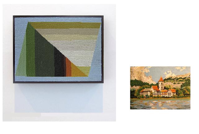 , 'Pueblo con tejados naranjas y torre de iglesia, lago en primer plano y bosque y montañas al fondo,' 2014, Wu Galeria