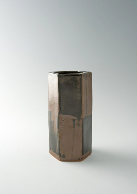 Shōji Hamada, 'Hexagonal vase, black and kaki glaze', 1970, Pucker Gallery