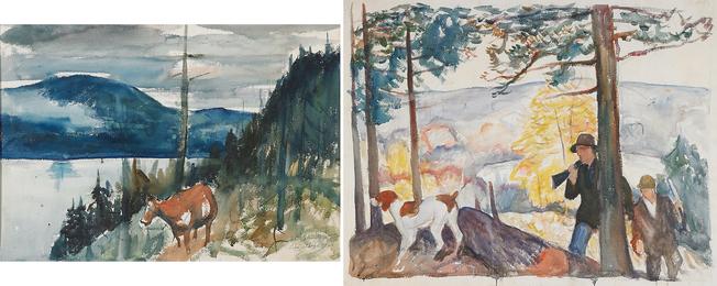 Two Works of Art:  Lake Atsago, Hunter with Dog