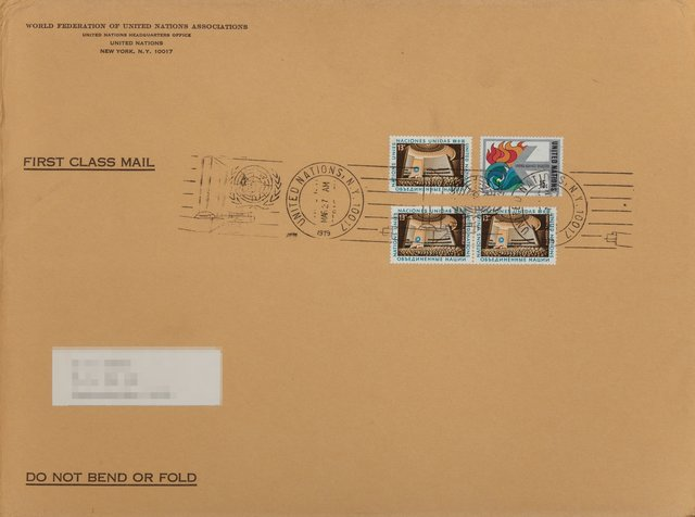 Andy Warhol, 'U.N. Stamp', 1979, Print, Offset lithograph in colors on Rives paper, and stamp with a first-day cover cancellation done to accompany a new issues of United Nations stamps, Heritage Auctions