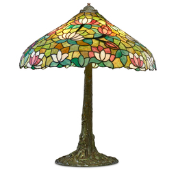 Table lamp with lotus shade and tree trunk base