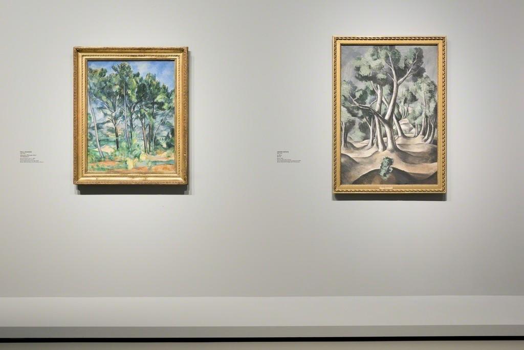 "View of Room 5 ""Landscapes/Constructions. Paul Cézanne, The Fauves and The Cubists"" From left to right : Cézanne, Derain (more info on document attached) © ADAGP, Paris 2016 pour l'oeuvre d'André Derain. Photo Fondation Louis Vuitton / Martin Argyroglo"