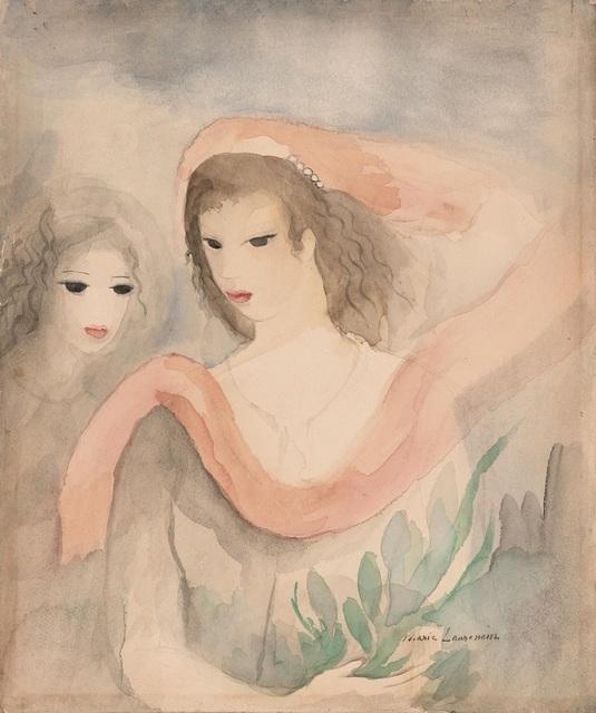 Marie Laurencin, 'Deux Tetes de Femmes', ca. 1926-27, Painting, Watercolor over traces of pencil on paper, Daphne Alazraki Fine Art