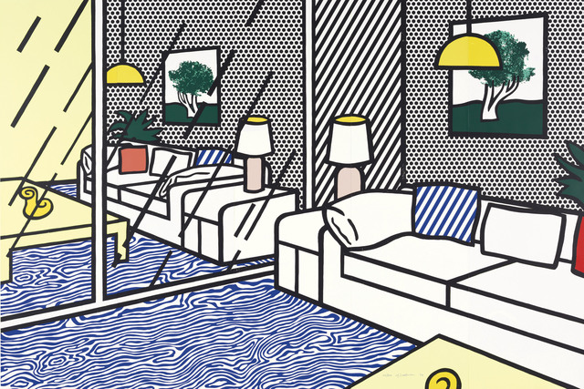 Roy Lichtenstein, 'Wallpaper with Blue Floor Interior', 1992, Print, Screenprint in colors, on five panels of Paper Technologies, Inc. Waterleaf paper (as issued), Christie's